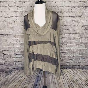 Komarov Brown Cowl Neck Lace Ruffled Layers XL